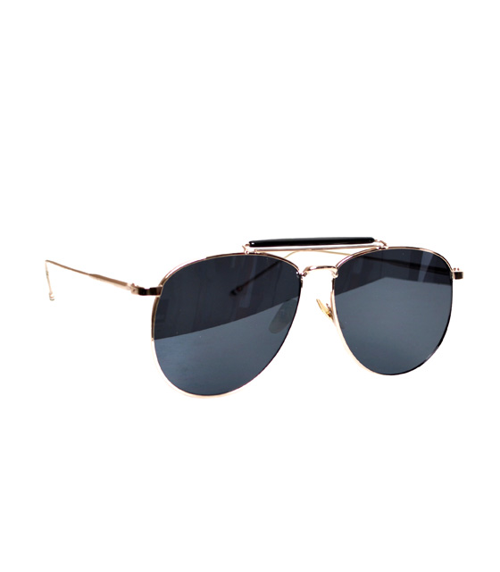 Copper wire sunglasses with deep blue lenses