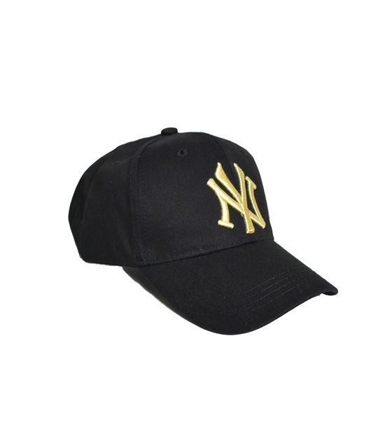 Black jockey hat with gold lettering