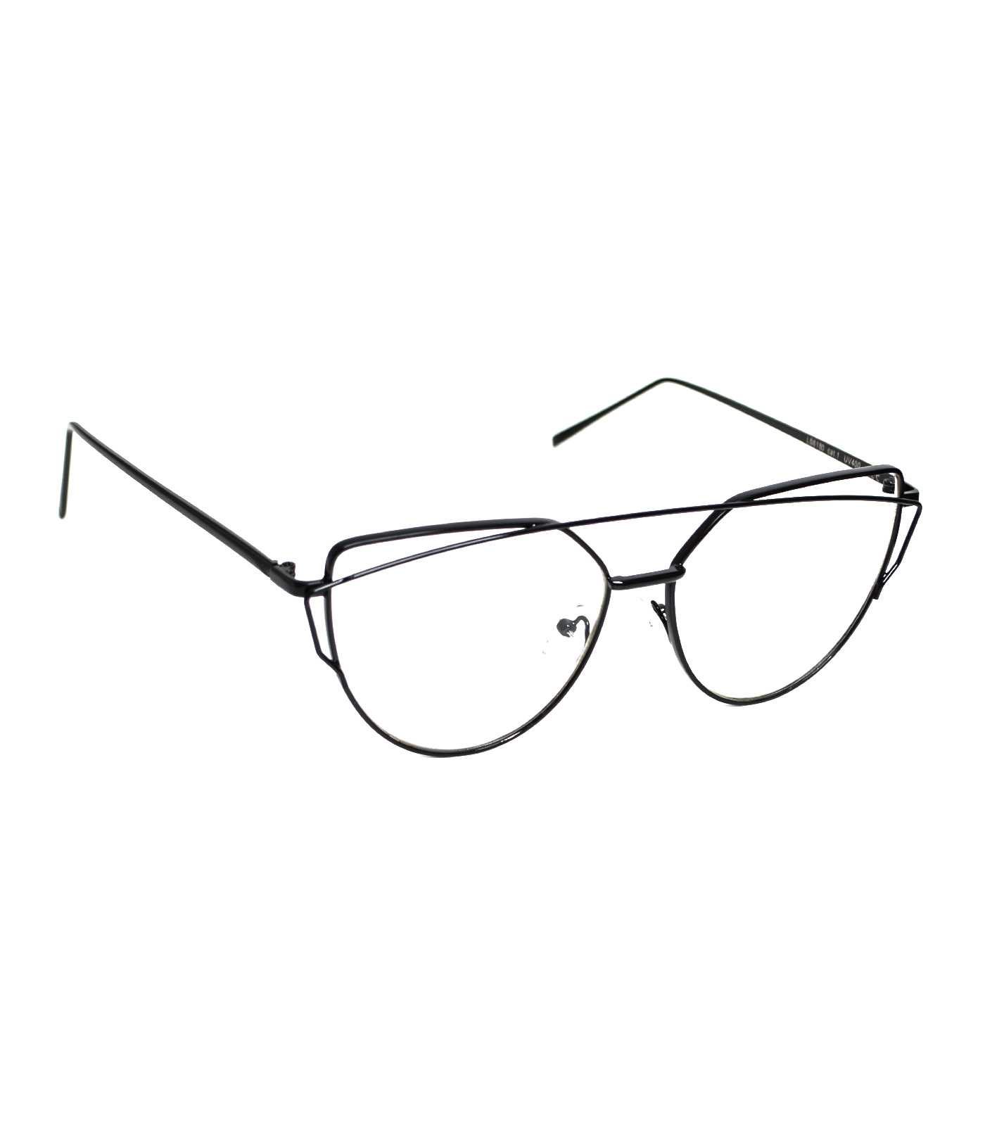 Μαύρο μεταλλικά γυαλιά με διαφανές φακό