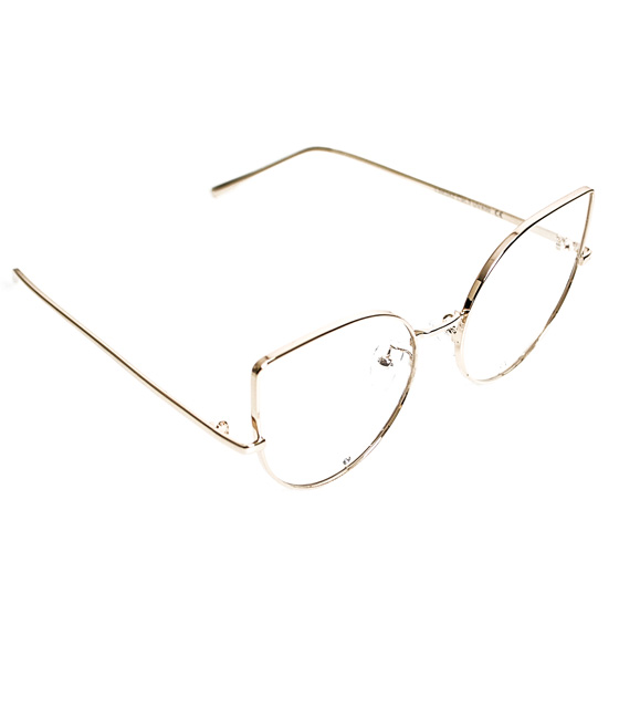 Γυαλιά' cat eye' με διαφανές φακό και στρας σε σκελετό χρυσό
