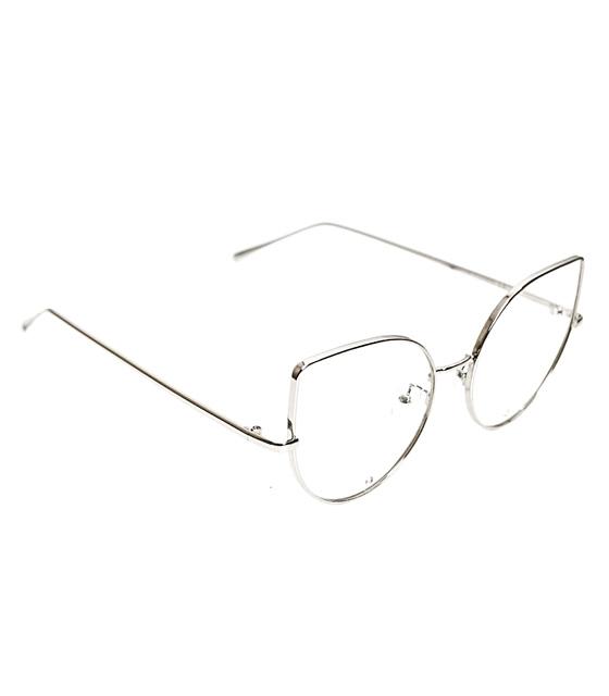 Γυαλιά' cat eye' με διαφανές φακό και στρας σε σκελετό ασημί