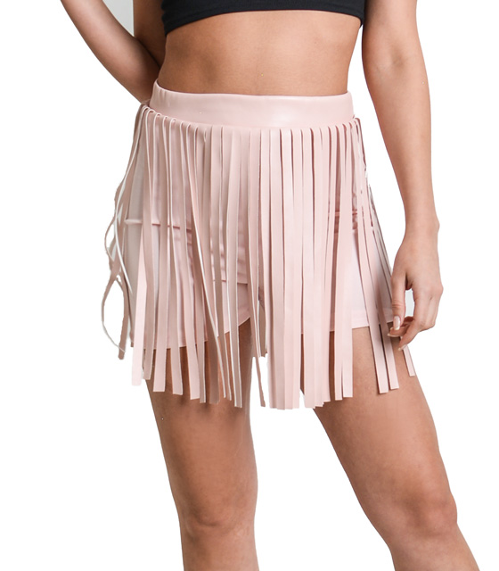 Pink high waisted sorts with fringing detail