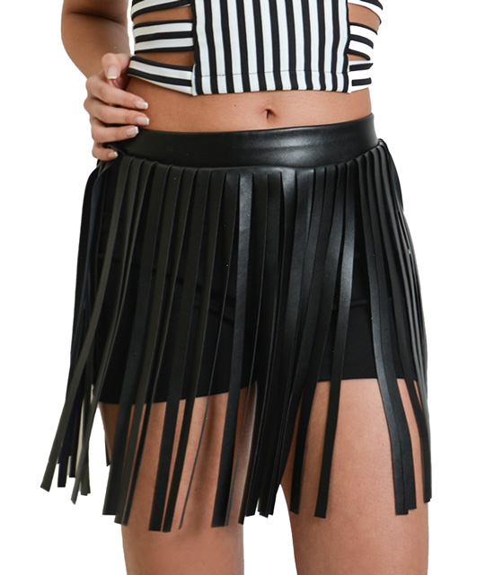 Black high waisted sorts with fringing detail