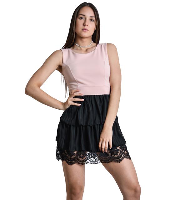 Μίνι ροζ φόρεμα βολάν με λεπτομέρειες δαντέλα