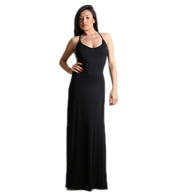 Maxi dress with lacing back with cut sideways Black