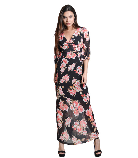 Black maxi dress with belt florar