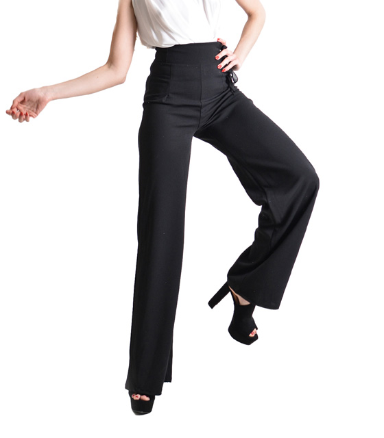 Black high bell trousers with lacing detail