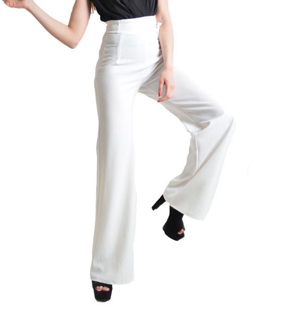 White high bell trousers with lacing detail