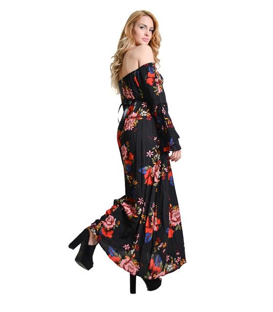Μαύρο φόρεμα εμπριμέ με ζώνη