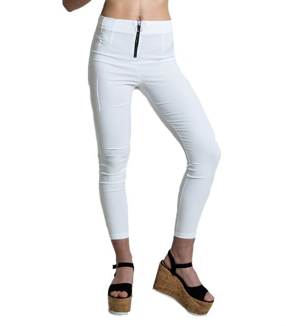 Λευκό ψηλόμεσο εφαρμοστό παντελόνι με φερμουάρ