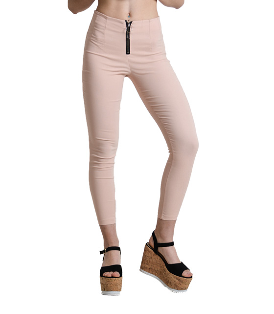 High weisted trousers with zipper (Pink)
