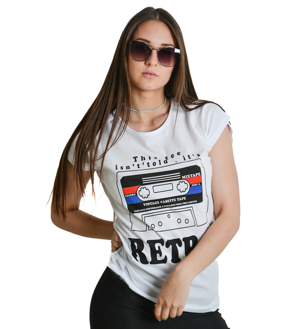 "Printed white t-shirt with ""RETRO"""