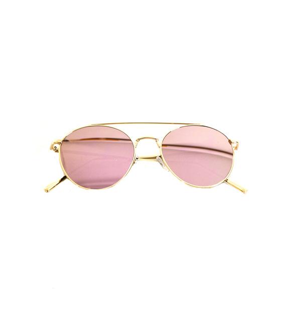 Γυαλιά μεταλλικά χρυσά με ροζ καθρέφτη