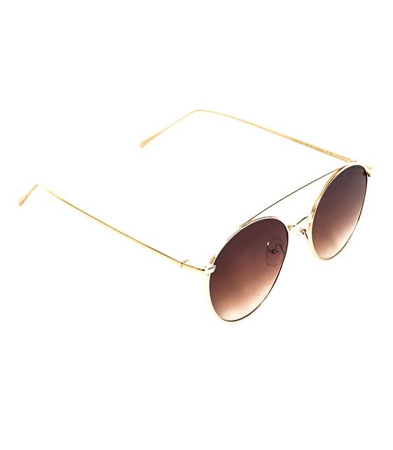 Γυαλιά μεταλλικά χρυσά με καφέ φακό
