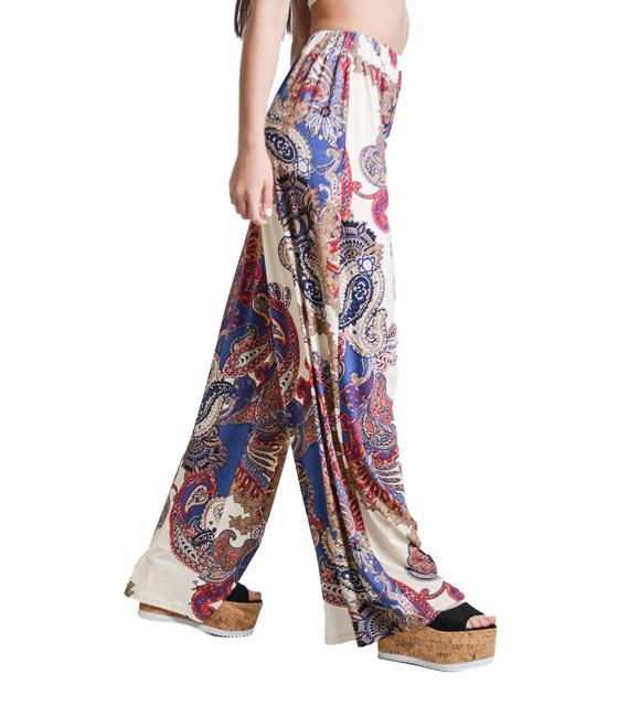 Boho παντελόνα μπέζ μπλέ λαχούρ ρούχα   bottoms   παντελόνια