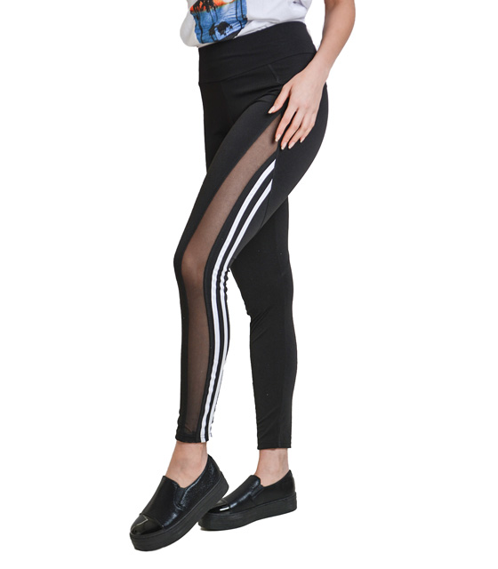 Leggings with transparent and white stripe on the side