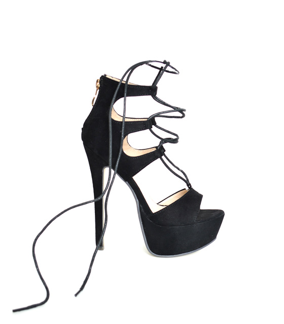Black Cross heeled sandal