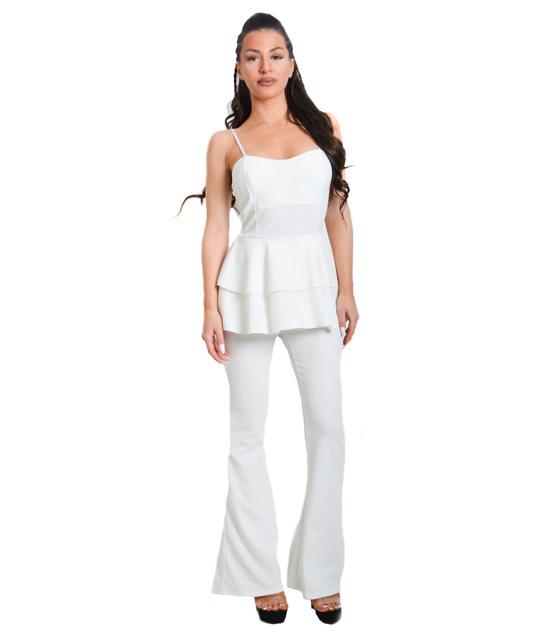Λευκή ολόσωμη φόρμα με βολάν