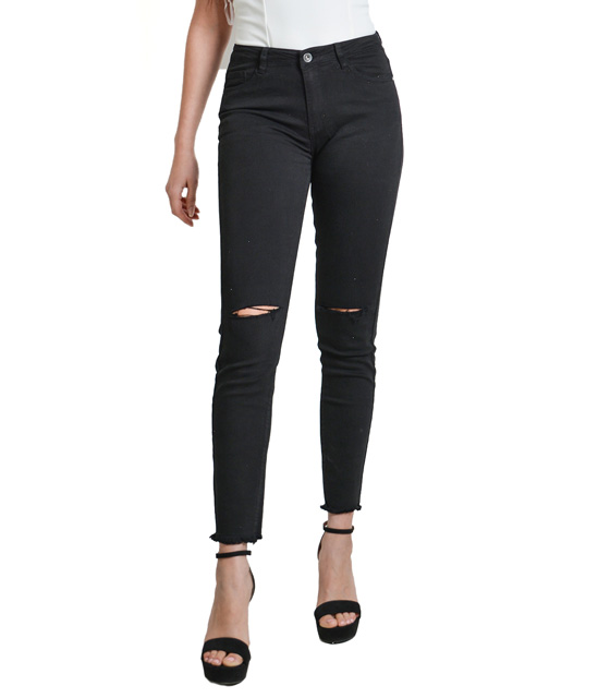Black high waisted jeans with ripped knees