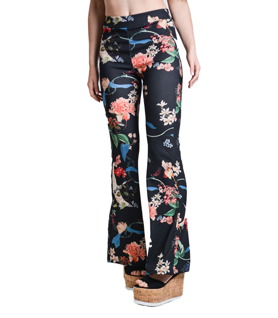 Black trousers bell floral