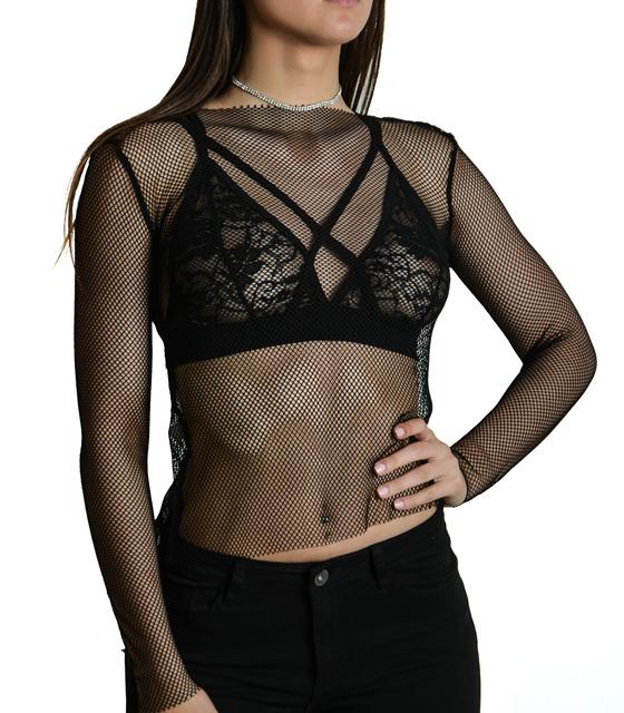 Μακρυμάνικη μπλούζα δίχτυ