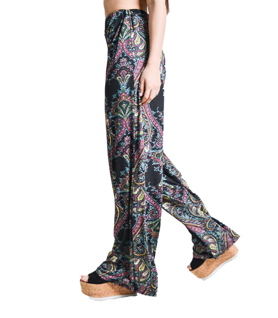 Boho παντελόνα μαύρο λαχούρ ρούχα   bottoms   παντελόνια