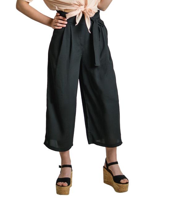 Μαύρη ζιπ κιλότ με λεπτομέρεια ζώνη ρούχα   bottoms   παντελόνια
