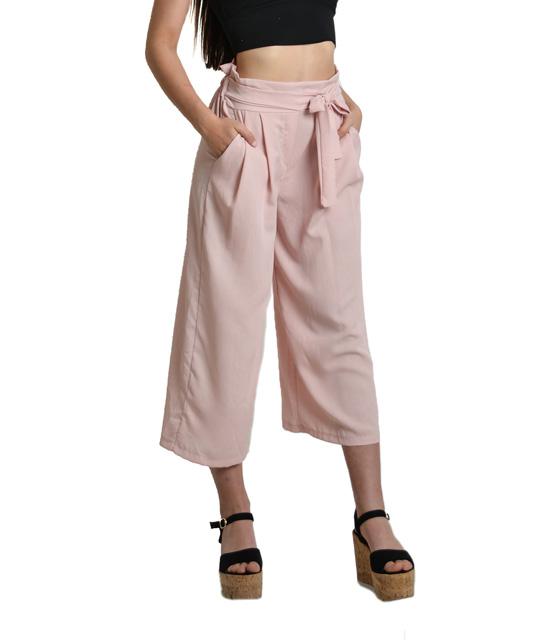 Ροζ ζιπ κιλότ με λεπτομέρεια ζώνη ρούχα   bottoms   παντελόνια