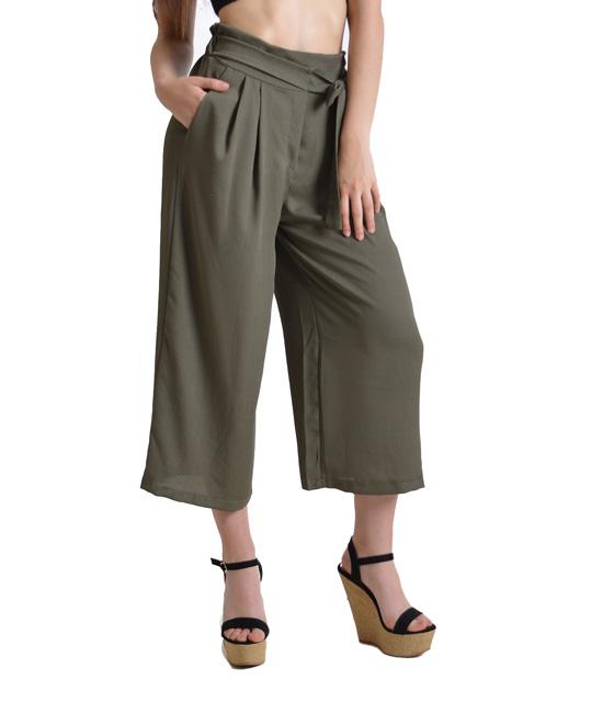 Χακί ζιπ κιλότ με λεπτομέρεια ζώνη ρούχα   bottoms   παντελόνια