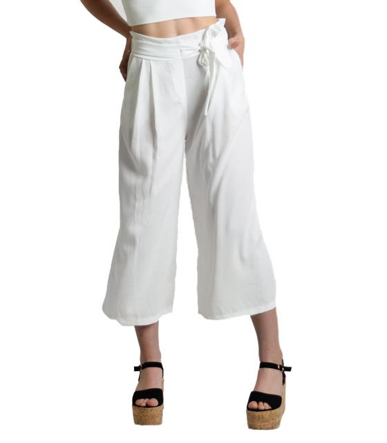 Λευκή ζιπ κιλότ με λεπτομέρεια ζώνη ρούχα   bottoms   παντελόνια