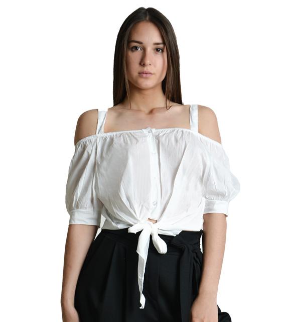 Λευκό τοπ τιραντάκι με δέσιμο μπροστά ρούχα   μπλούζες   top   τοπάκια   μπουστάκια