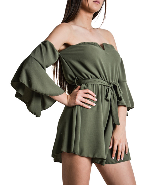 Full length shorts strapless with belt (Khaki)