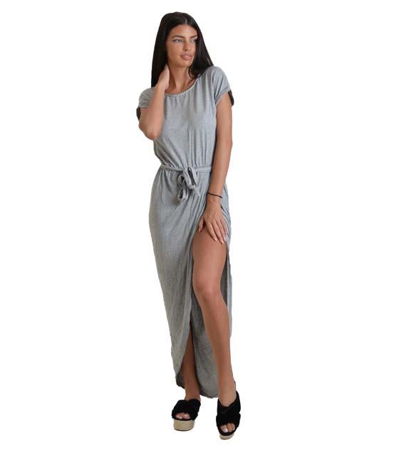 Ασσύμετρο φόρεμα με ζώνη (Γκρί)