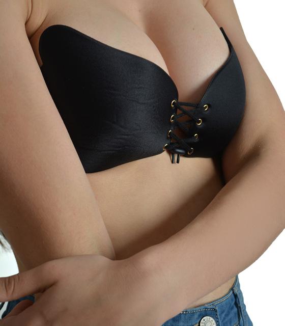 Σουτιέν σιλικόνης αυτοκόλλητο χωρίς τιράντες με κορδόνι (Μαύρο) ρούχα   μπλούζες   top   εσώρουχα