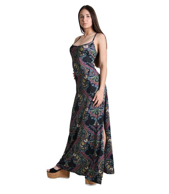Μάξι φόρεμα με δέσιμο στην πλάτη και άνοιγμα στο πλάι Εμπριμέ