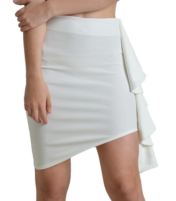Λευκή φούστα ασύμμετρη με βολάν στο πλάι