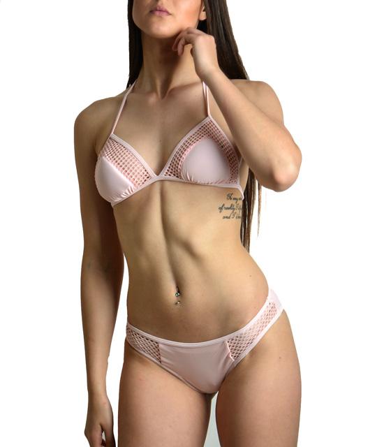 Ροζ μπικίνι με δίχτυ ρούχα   μαγιό