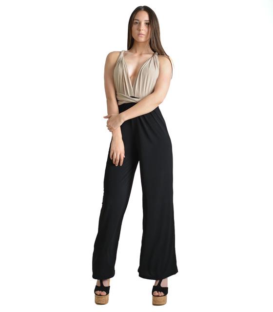 Πολυμορφική μαύρη ολόσωμη φόρμα με μπεζ τοπ ρούχα   ολόσωμες φόρμες