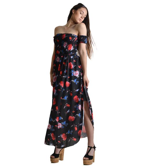 Bardot φόρεμα φλοράλ (Μαύρο)
