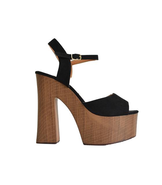 Μαύρα πέδιλα με ογκώδες τακούνι & πλατό από ξύλο