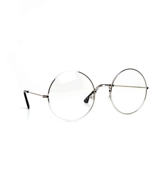 Στρόγγυλα ασημί μεταλλικά γυαλιά με διαφανές φακό
