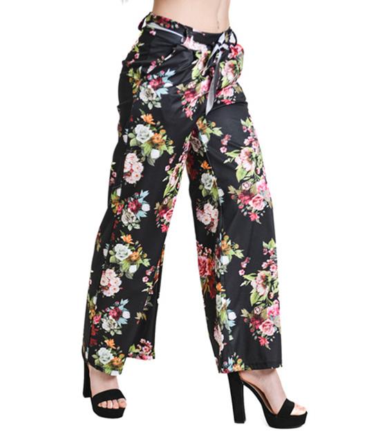 Παντελόνα καμπάνα φλοράλ με ζώνη (Μαύρη)