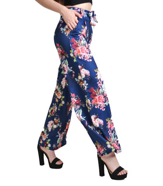 Παντελόνα καμπάνα φλοράλ με ζώνη (Μπλε)