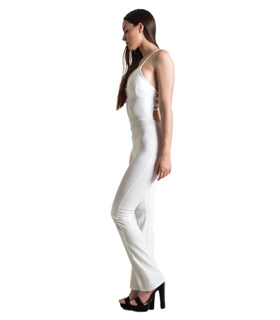 Ολόσωμη φόρμα με χιαστή στην πλάτη (Λευκή)