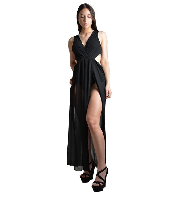 Ολόσωμη φόρμα με εσωρετικό σορτς και δέσιμο στην πλάτη (Μαύρο)