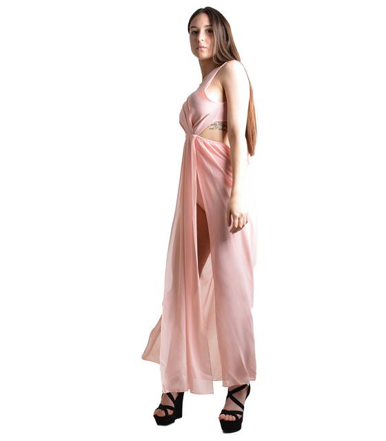 Ολόσωμη φόρμα με εσωρετικό σορτς και δέσιμο στην πλάτη (Ροζ)