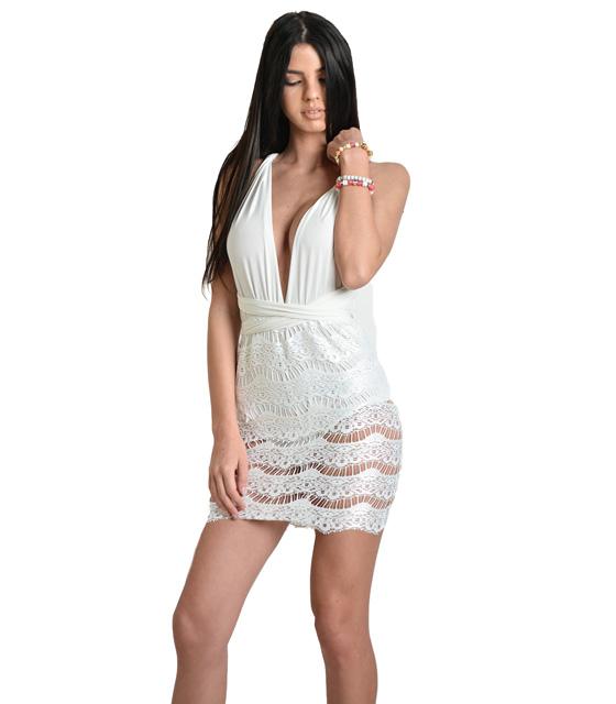 Πολυμορφικό φόρεμα λευκό με δαντέλα και εσωτερικό σορτς