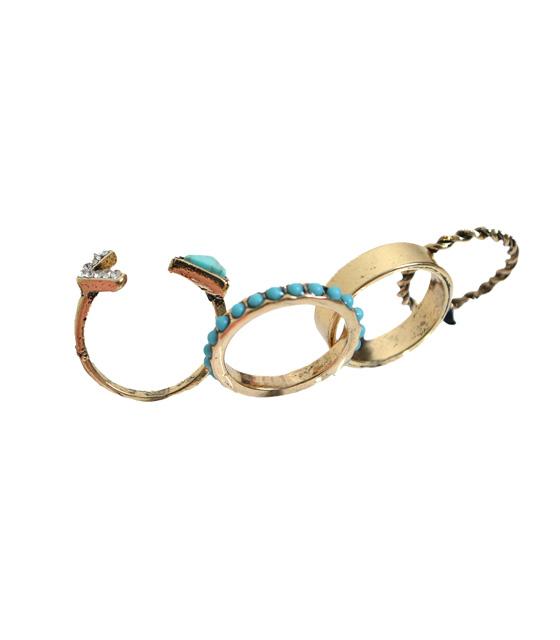 Σετ δαχτυλίδια χρυσά με τιρκουάζ πέτρες αξεσουάρ   δαχτυλίδια