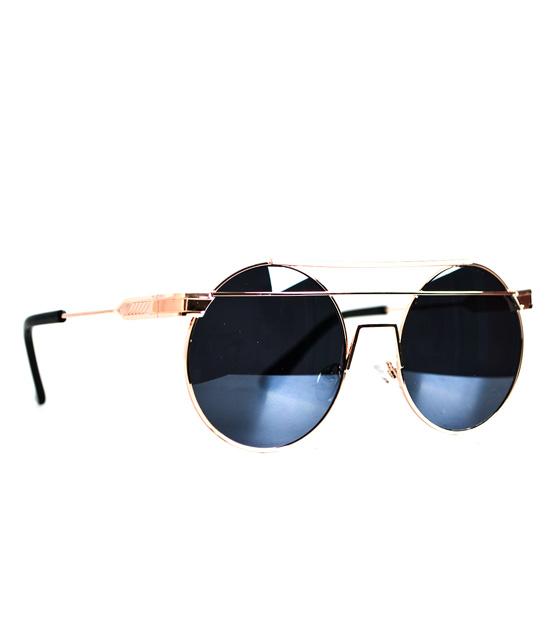 Στρόγγυλα γυαλιά ηλίου με σύρμα στο πάνω μέρος (Μαύρα - Χάλκινα)
