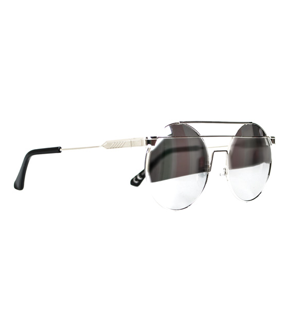 Στρόγγυλα γυαλιά ηλίου με σύρμα στο πάνω μέρος (Ασημί)